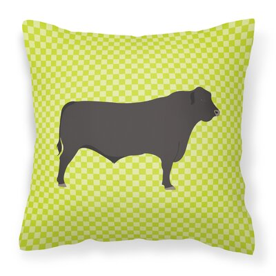 Cow Check Canvas Outdoor Throw Pillow Color: Green