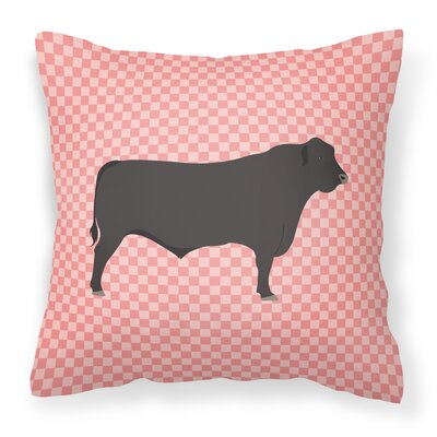 Cow Check Canvas Outdoor Throw Pillow Color: Pink
