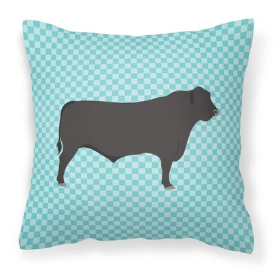 Cow Check Canvas Outdoor Throw Pillow Color: Blue
