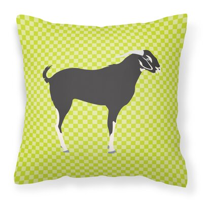 Goat Check Fabric Outdoor Throw Pillow Color: Green