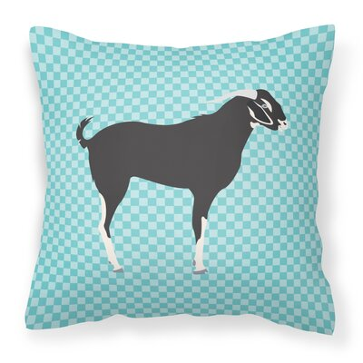 Goat Check Fabric Outdoor Throw Pillow Color: Blue