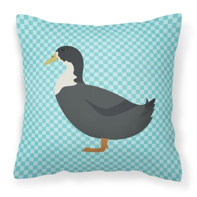 Duck Check Fabric Outdoor Throw Pillow Color: Blue
