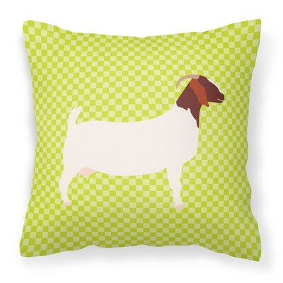 Eclectic Goat Check Square Outdoor Throw Pillow Color: Green