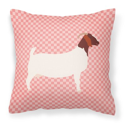 Eclectic Goat Check Square Outdoor Throw Pillow Color: Pink