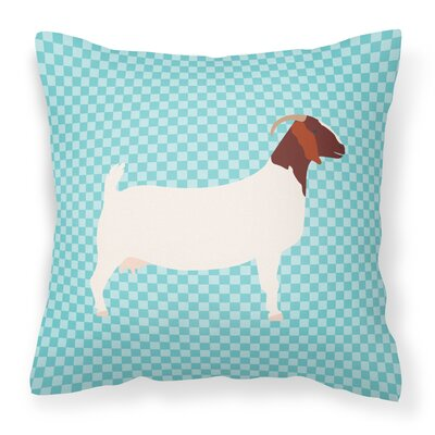 Eclectic Goat Check Square Outdoor Throw Pillow Color: Blue