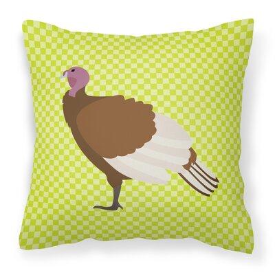 Turkey Hen Check Outdoor Throw Pillow Color: Green