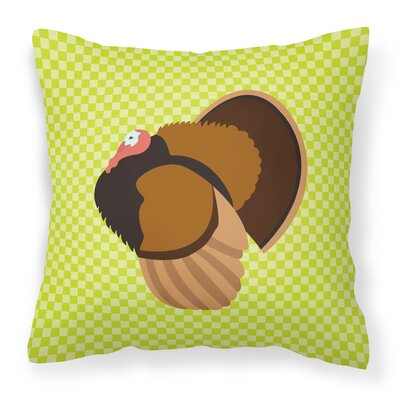 Turkey Check Square Canvas Outdoor Throw Pillow Color: Green