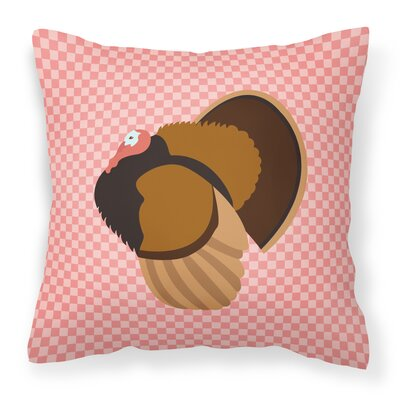 Turkey Check Square Canvas Outdoor Throw Pillow Color: Pink