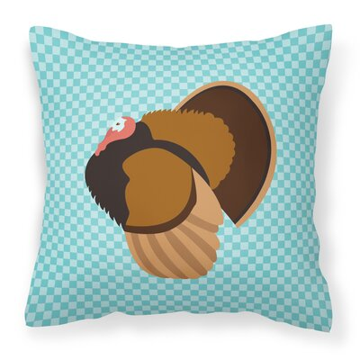 Turkey Check Square Canvas Outdoor Throw Pillow Color: Blue