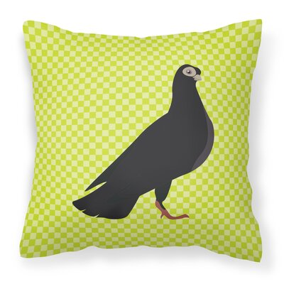 Pigeon Check Square Outdoor Throw Pillow Color: Green