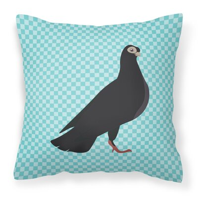 Pigeon Check Square Outdoor Throw Pillow Color: Blue