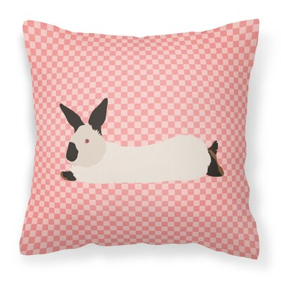 Rabbit Check Canvas Outdoor Fabric Throw Pillow Color: Pink