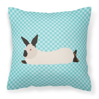 Rabbit Check Canvas Outdoor Fabric Throw Pillow Color: Blue
