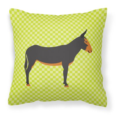 Donkey Check Outdoor Throw Pillow Color: Green