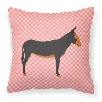 Donkey Check Outdoor Throw Pillow Color: Pink