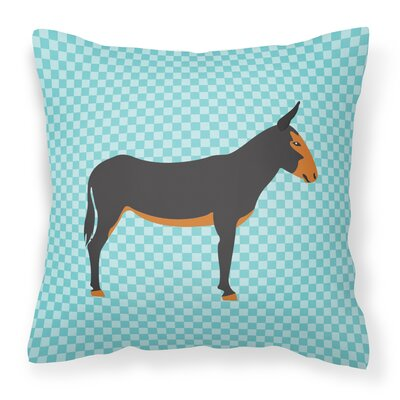 Donkey Check Outdoor Throw Pillow Color: Blue