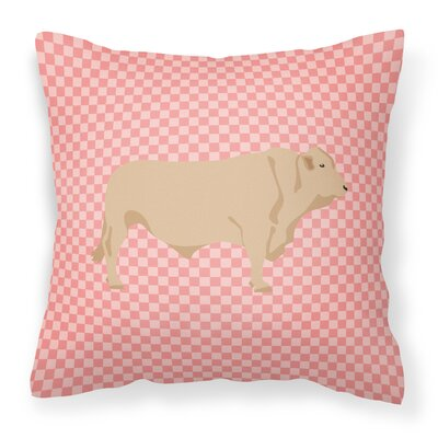 Cow Check Fabric Outdoor Throw Pillow Color: Pink