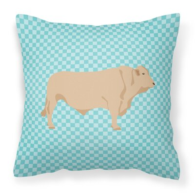 Cow Check Fabric Outdoor Throw Pillow Color: Blue