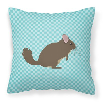 Chinchilla Check Outdoor Throw Pillow Color: Blue
