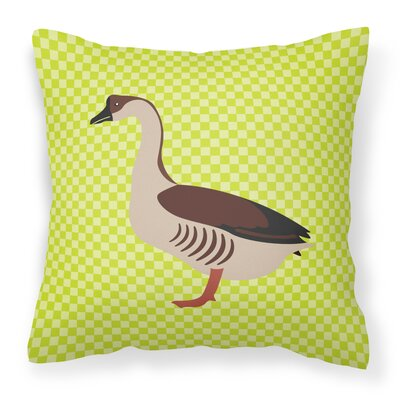 Chinese Goose Check Outdoor Throw Pillow Color: Green