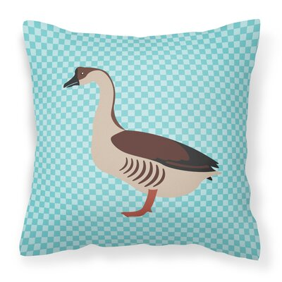 Chinese Goose Check Outdoor Throw Pillow Color: Blue