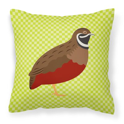 Chinese Painted or King Quail Check Outdoor Throw Pillow Color: Green