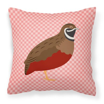 Chinese Painted or King Quail Check Outdoor Throw Pillow Color: Pink