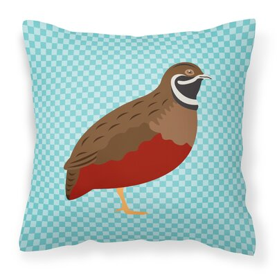 Chinese Painted or King Quail Check Outdoor Throw Pillow Color: Blue