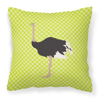 Ostrich Check Outdoor Throw Pillow Color: Green