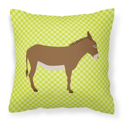 Donkey Check Square Outdoor Throw Pillow Color: Green