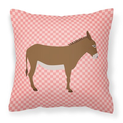 Donkey Check Square Outdoor Throw Pillow Color: Pink