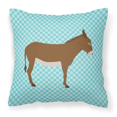 Donkey Check Square Outdoor Throw Pillow Color: Blue
