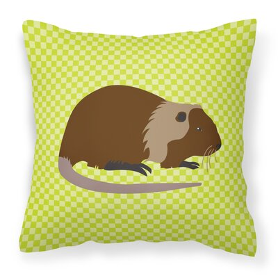 Nutria River Rat Check Outdoor Throw Pillow Color: Green