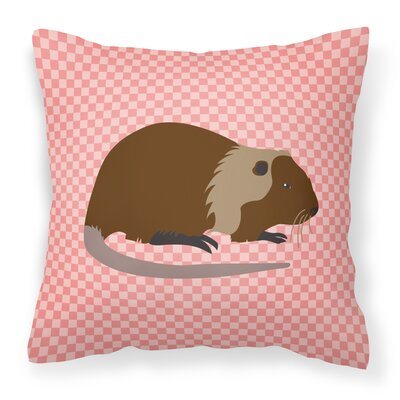 Nutria River Rat Check Outdoor Throw Pillow Color: Pink