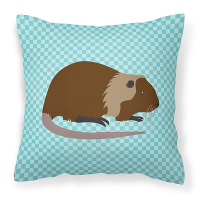 Nutria River Rat Check Outdoor Throw Pillow Color: Blue