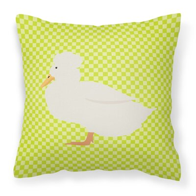Crested Duck Check Outdoor Throw Pillow Color: Green