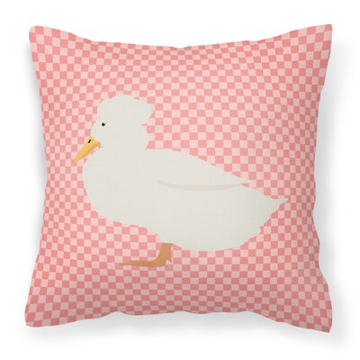 Crested Duck Check Outdoor Throw Pillow Color: Pink