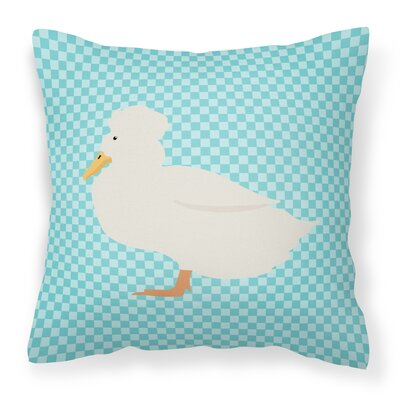 Crested Duck Check Outdoor Throw Pillow Color: Blue