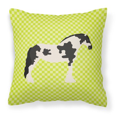 Horse Check Square Canvas Outdoor Throw Pillow Color: Green