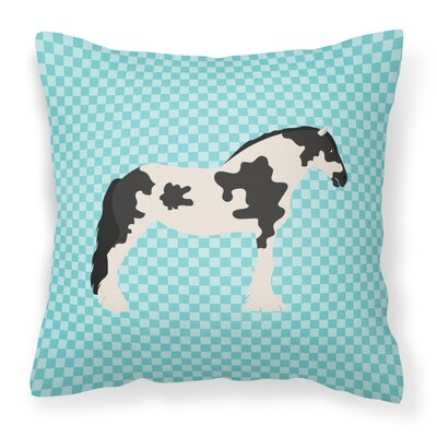 Horse Check Square Canvas Outdoor Throw Pillow Color: Blue