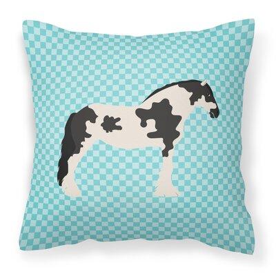Horse Check Square Canvas Outdoor Throw Pillow Color: Blue