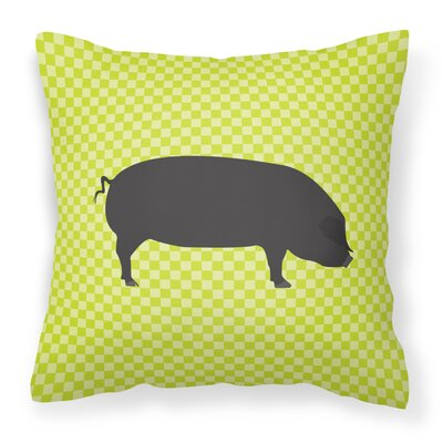 Large Pig Check Outdoor Throw Pillow Color: Green