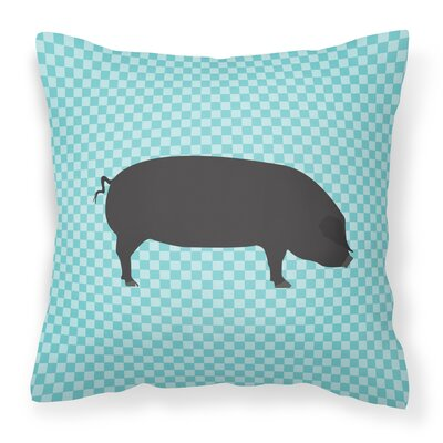 Large Pig Check Outdoor Throw Pillow Color: Blue
