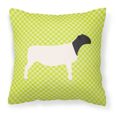 Dorper Sheep Check Outdoor Throw Pillow Color: Green