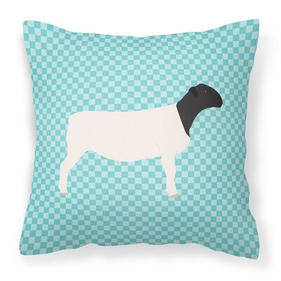 Dorper Sheep Check Outdoor Throw Pillow Color: Blue
