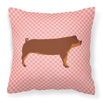 Pig Check Outdoor Throw Pillow Color: Pink
