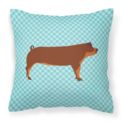 Pig Check Outdoor Throw Pillow Color: Blue