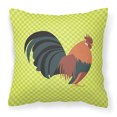 Dutch Bantam Chicken Check Outdoor Throw Pillow Color: Green