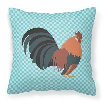 Dutch Bantam Chicken Check Outdoor Throw Pillow Color: Blue