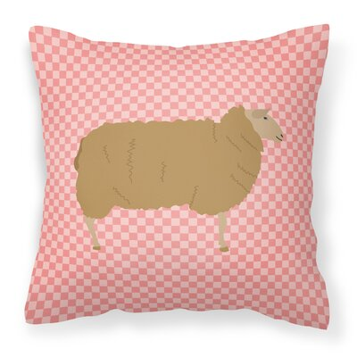 Sheep Check Square Outdoor Throw Pillow Color: Pink